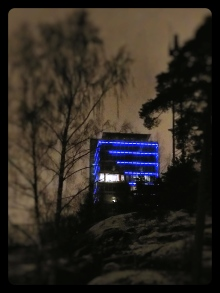 Buildings and landmarks around Finland are lit up blue this week. This random building in our neighbourhood can be seen from miles away and celebrates Finland's Independence Day.