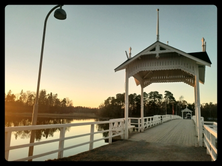 Footbridge at sunset